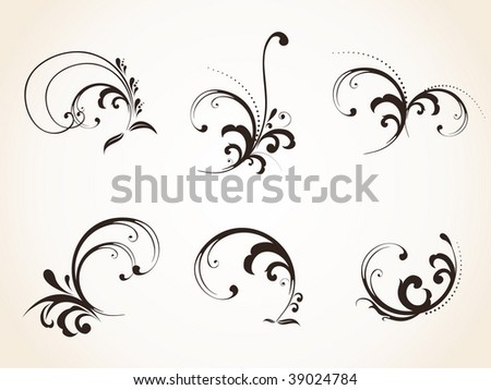 Vector floral elements set for design