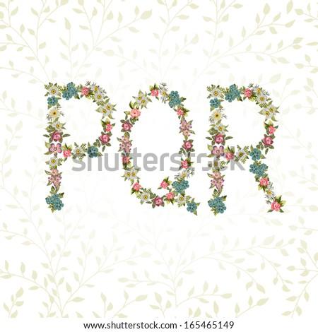 Vector floral font. Letters P, Q, R - stock vector