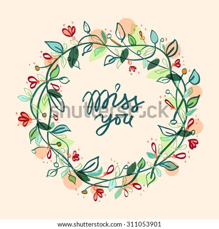 Vector floral frame | Flower wreath | Vector floral composition with ornamental blossom wreath on beige background and romantic inscription - stock vector