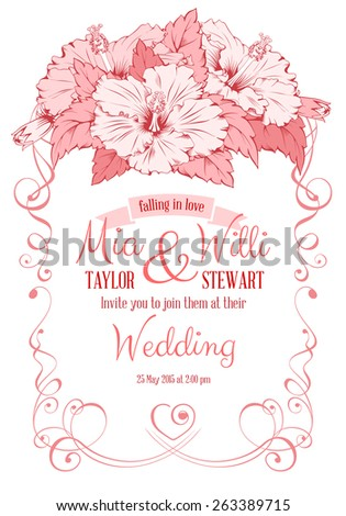 Vector Floral Frame for wedding invitations or announcements with hand drawn exotic flowers hibiscus. Easy to edit. Beautiful element for different designs. - stock vector