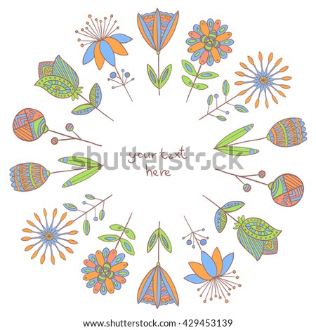 Vector floral frame in folkloric style. Hand drawn colored wreath of flowers