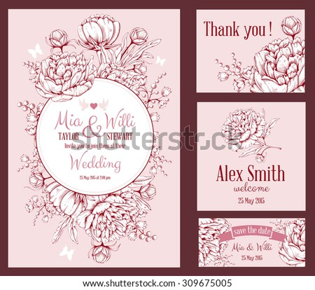 Vector Floral Frame Set for invitations or announcements with hand drawn luxurious peonies on pink background and space for your text. Easy to edit.  - stock vector