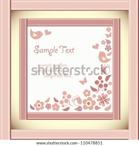 Vector floral frame with a bird - stock vector