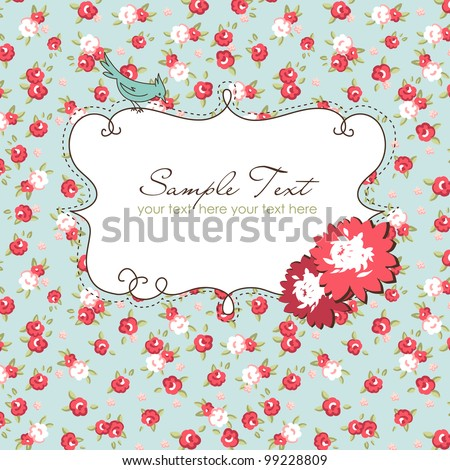Vector floral frame with a bird - stock vector