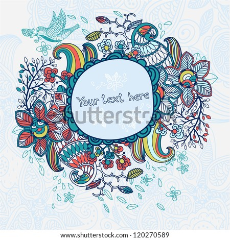 vector floral frame with colorful flowers and doodles - stock vector
