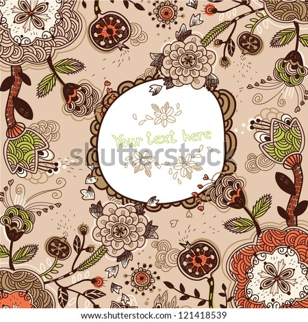 vector floral frame with fantasy flowers and plants - stock vector