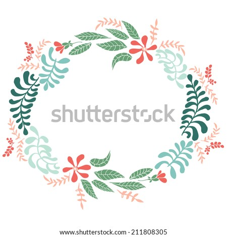 vector floral frames. Cute collection of wreaths made of hand drawn leaves and flowers. Vintage set for invitations. save the date cards and other design. - stock vector