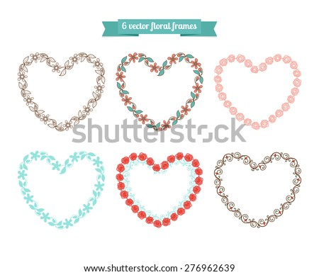 Vector floral frames in shape of heart - stock vector