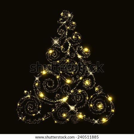 Vector floral glowing christmas tree - stock vector