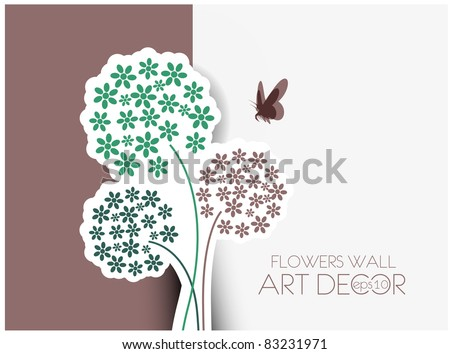 vector floral greeting card design. - stock vector