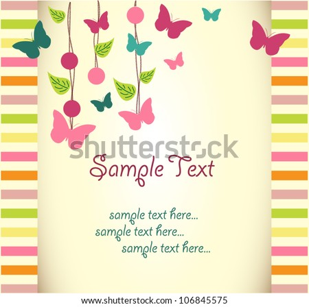 Vector floral greeting card with butterfly - stock vector