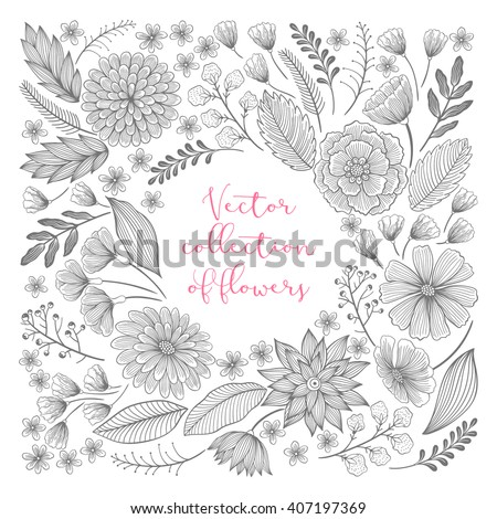 Vector floral hand drawn elements collection with leaves and flowers. Decorative floral set for fabric, textile, wrapping paper, card, invitation, wallpaper, web design. - stock vector