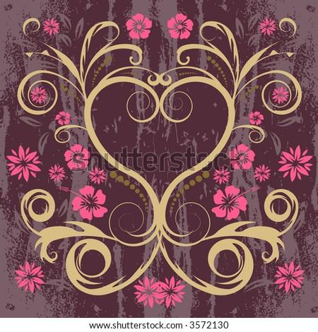vector floral heart design - stock vector
