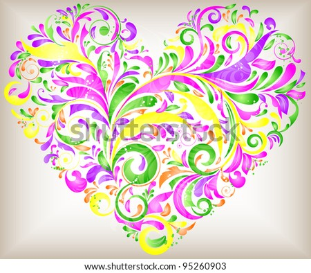 vector floral heart for saint valentines day