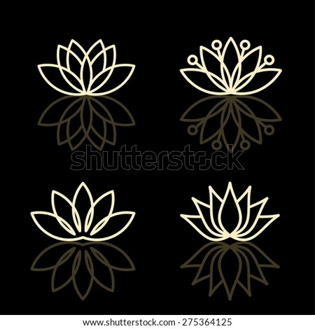 Vector floral icons and logo design templates in outline style - abstract monograms and emblems - stock vector