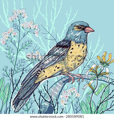 vector floral illustration of a wild bird and blooming summer flowers