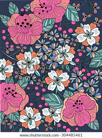 vector floral illustration of colored blooming flowers, plants and berries