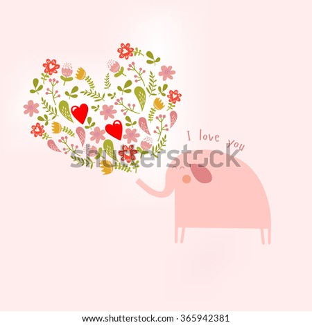 Vector floral illustration with elephant - stock vector