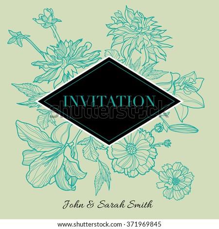 Vector floral Invitation events design - stock vector