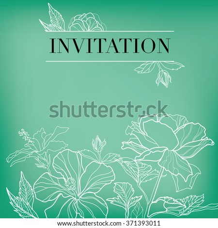 Vector floral invitation for events design with different flowers - stock vector