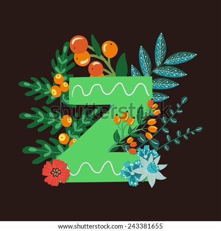Vector floral letter made from leaves, branches, berries and flowers. Bright botanical alphabet. Vintage hand drawing character. Letter Z. - stock vector