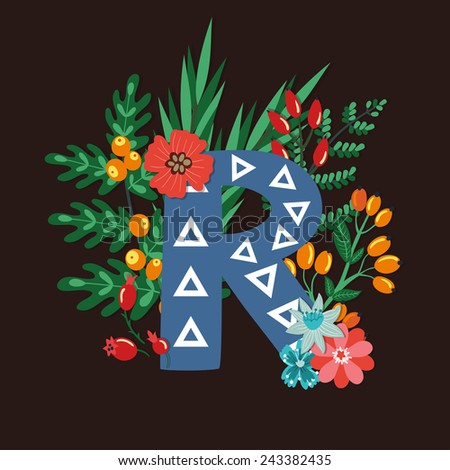 Vector floral letter made from leaves, branches, berries and flowers. Bright botanical alphabet. Vintage hand drawing character. Letter R. - stock vector