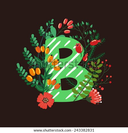 Vector floral letter made from leaves, branches, berries and flowers. Bright botanical alphabet. Vintage hand drawing character. Letter B. - stock vector