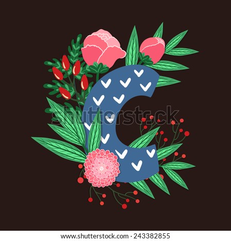 Vector floral letter made from leaves, branches, berries and flowers. Bright botanical alphabet. Vintage hand drawing character. Letter C. - stock vector