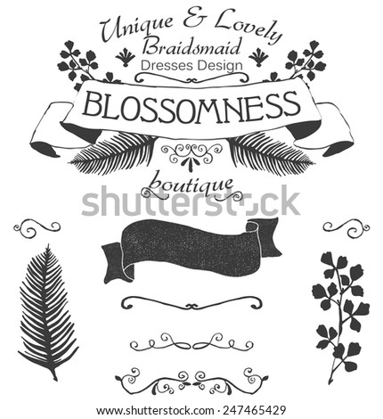 Vector floral logo label with texture and separate floral branches and leaves.All elements are on separate layers for easy editing. - stock vector