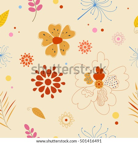 Vector floral pattern in doodle style with flowers and leaves. Autumn style.