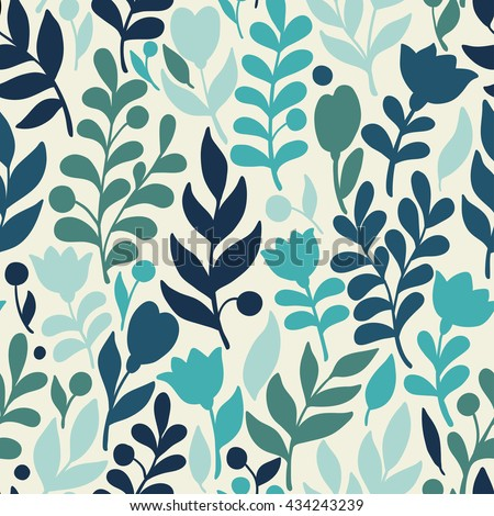 Vector floral pattern in doodle style with flowers and leaves. Gentle, spring floral background. - stock vector
