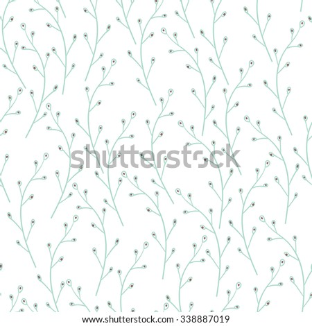Vector floral pattern in doodle style with leaves. Gentle, spring floral background. Design artistic element for card, print, template, wallpaper, texture, textile. - stock vector