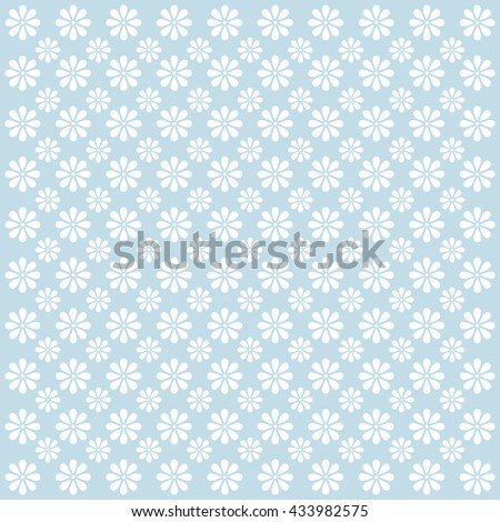 Vector Floral Pattern in pale blue tones. - stock vector