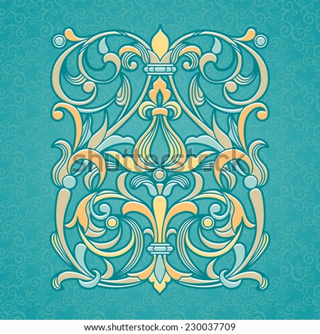 Vector floral pattern in Victorian style on scroll work background. Ornate element for design. Ornamental vintage illustration for wedding invitations, greeting cards. Traditional outline decor. - stock vector