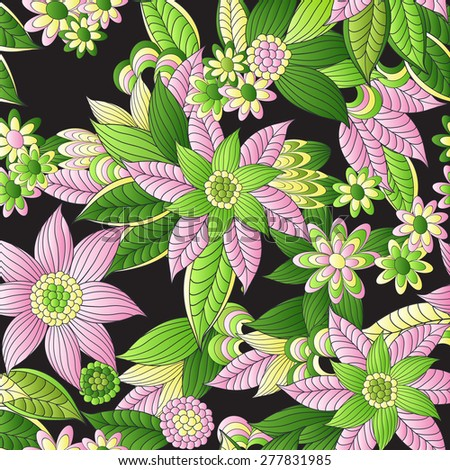 Vector floral  pattern, pattern can be used for wallpaper, pattern fills, surface textures  - stock vector