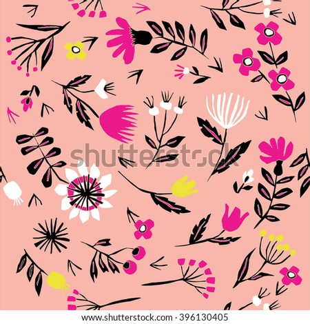 Vector floral pattern with flowers and leaves