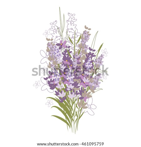 Vector floral pattern with lavender flowers in the flat and a sketch style. Outline style vector illustration.