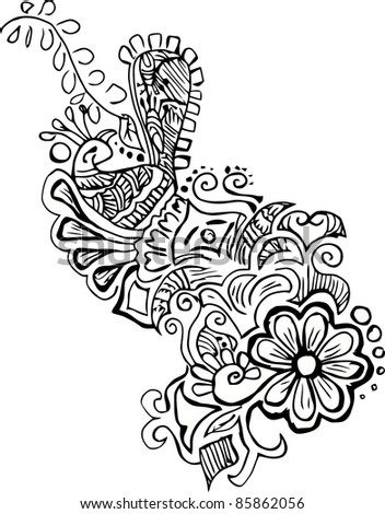 Vector Floral Pattern With Peacock - stock vector