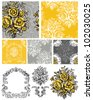 Vector Floral Repeat Patterns and icons.  Use to create pretty digital paper, fabrics or scrap booking. - stock vector