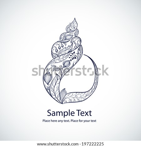 Vector floral sea shell shape illustration - stock vector