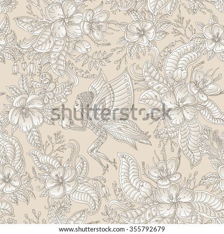 Vector floral seamless fairy pattern.Exotic flowers, leaves.Dark brown contour thin drawing on a light beige background.Fantastic butterfly woman silhouette with teapot, blooming garden. Batik paint