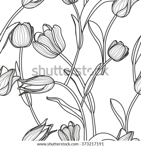 Vector floral seamless pattern. Black and white background with outline hand drawn tulip flowers.  Design concept for fabric design, textile print, wrapping paper or web backgrounds.