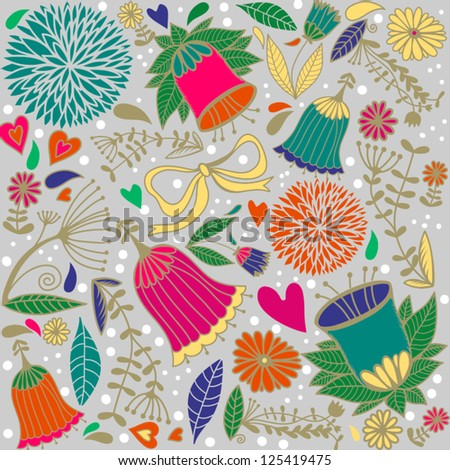 Vector floral seamless pattern/gray.