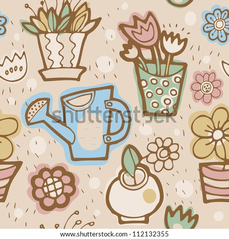Vector floral seamless pattern in retro style - stock vector