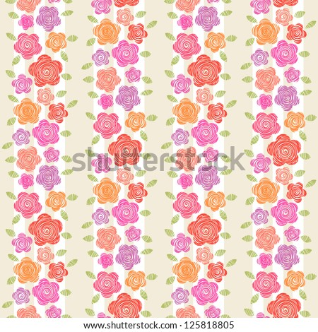 Vector floral seamless pattern. Simple striped decorative background with flowers and leaves of doodles. Abstract ornamental illustration in hand drawn childish style for wallpaper, paper, print, web - stock vector