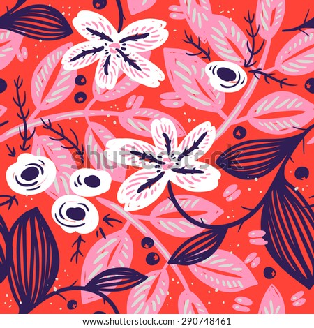 vector floral seamless pattern with abstract blooms on a bright red background - stock vector