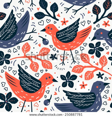 vector floral seamless pattern with abstract colorful birds and leaves - stock vector