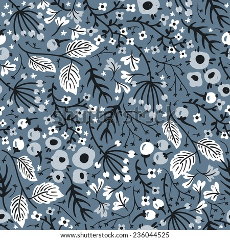 vector floral seamless pattern with abstract flowers and berries on a grey background