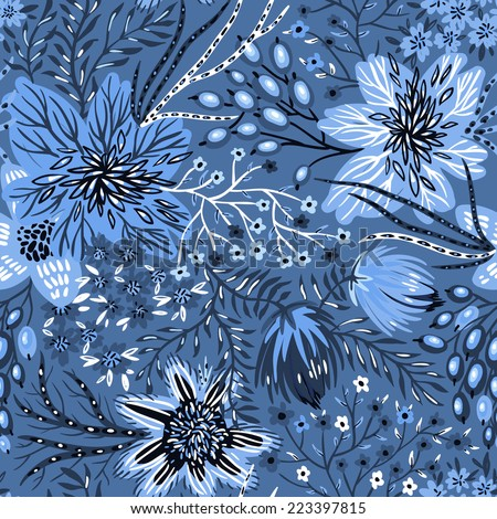 vector floral seamless pattern with abstract flowers and plants - stock vector