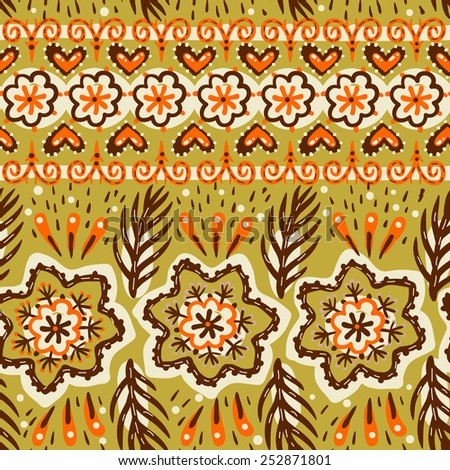 vector floral seamless pattern with abstract folk elements - stock vector